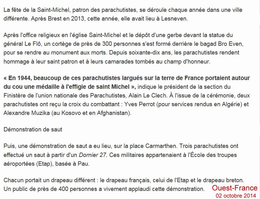 Ouest-France - Lesneven 02 octobre 2014